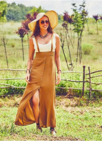 Strappy Boho Mustard Skirt