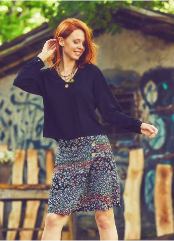 Boho Mini Black Spring Skirt