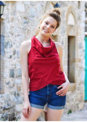 Sleeveless Drape Neck Wrap Front Red Summer Top