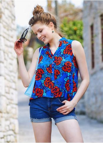 Blue Floral Dip Hem Button Down Shirt