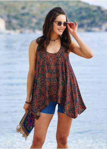 Halter Neck Tunic Patterned Blouse