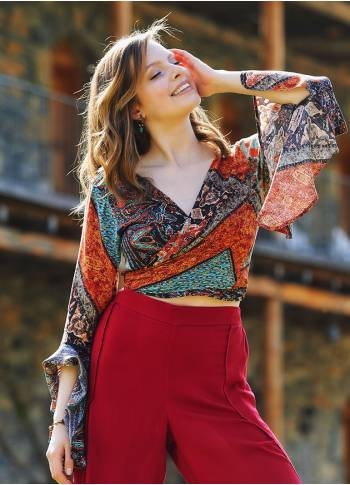 Etnic Patterned Gypsy Style Bell Sleeve Crop Top