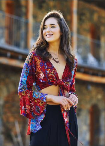 Red Patterned Gypsy Style Bell Sleeve Crop Top