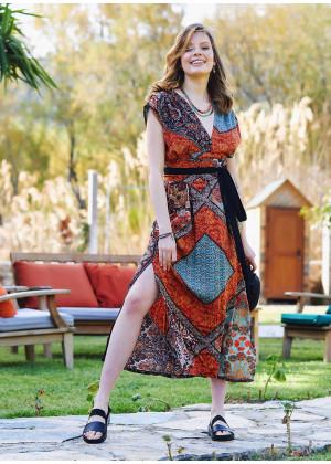 Slit Detailed Belted Orange Patterned Summer Dress