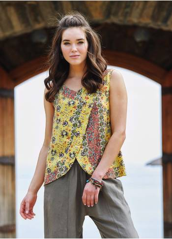 Yellow Floral Buttoned Navy Blue Blouse Top