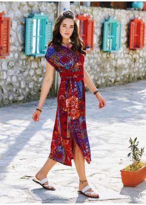 Side Slits Detail Belted Boho Summer Dress