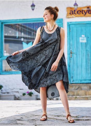 Gray Patterned Scoop Neck Round Hem Sleeveless Dress