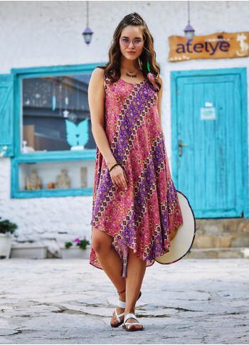 Floral Printed Scoop Neck Round Hem Sleeveless Dress
