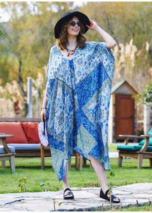 Blue Patterned Low Back Bohemian Summer Dress