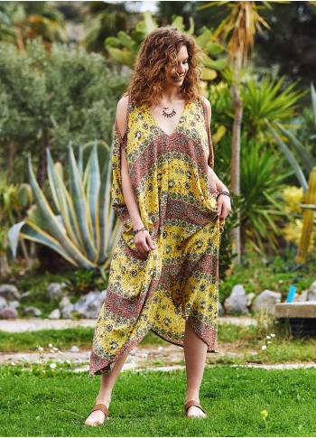 Yellow Patterned Low Back Bohemian Summer Dress