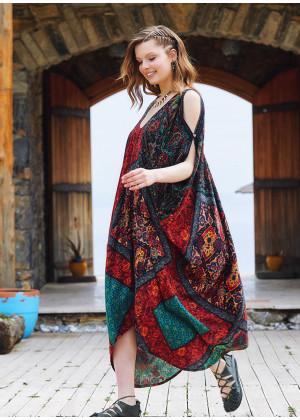 Black Patterned Low Back Bohemian Summer Dress