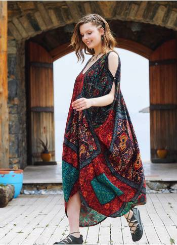 Black Patterned Low Back Bohemian Summer Dress