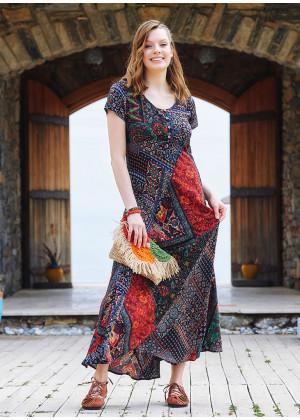 Round Neck Half Sleeve Maxi Patchwork Dress