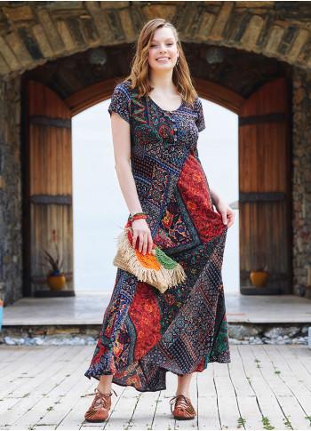 Authentic Patterned Round Neckline Patchwork Dress