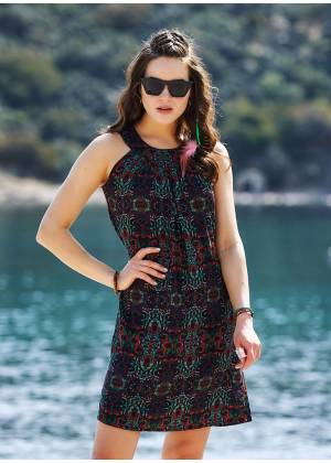 Authentic Patterned Adjustable Waist Lace Dress