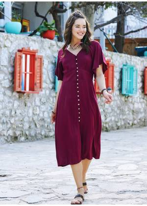 Maroon Bat Sleeve V Neckline Yellow Dress
