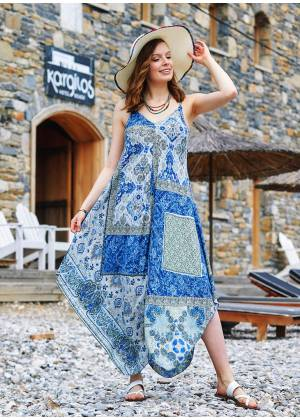 Rope Strap Blue Patterned Dress