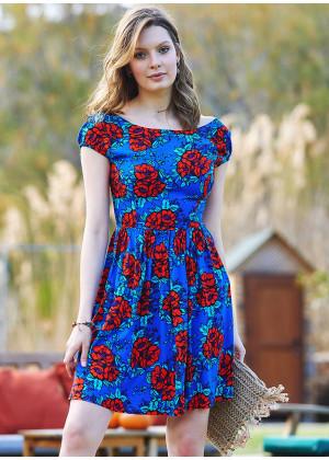 Floral Pattern Open Back Short Dress