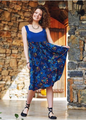 Blue Floral Open Back Boho Sundress