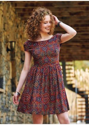 Open Back Short Retro Pattern Dress