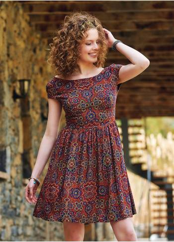 Open Back Short Retro Pattern Dress