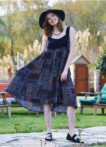 Authentic Patterned Open Back Boho Sundress