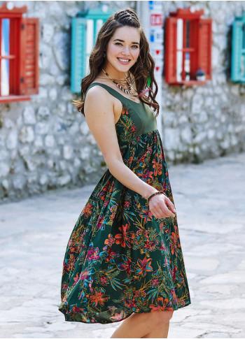 Floral Patterned Open Back Boho Sundress
