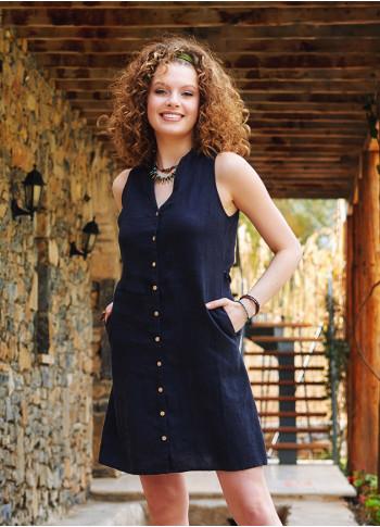 Black Casual Linen Shirt Dress