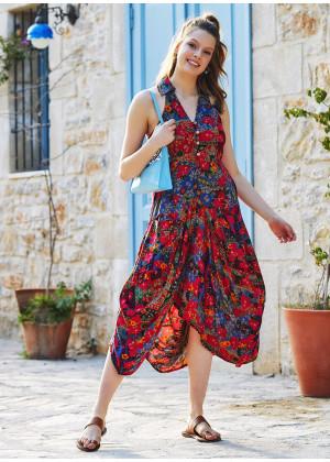 Floral Printed Shirt Collar Long Boho Dress