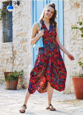 Floral Printed Shirt Collar Long Boho Dress