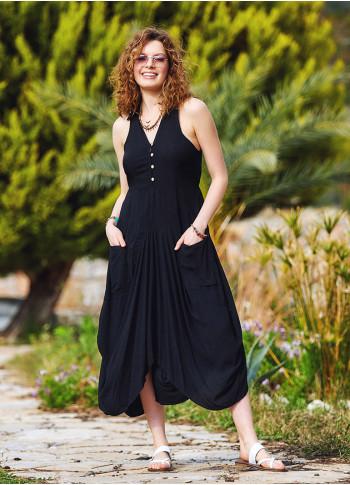 Black Shirt Collar Long Boho Dress