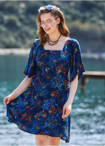 Floral Printed Square Neck Boho Short Dress