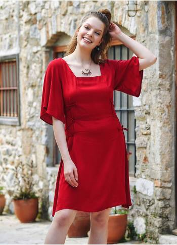 Red Square Neck Boho Short Dress
