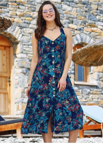 Blue Floral Halter Neck Vintage Summer Dress