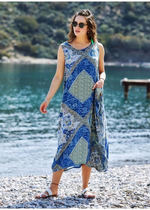 Blue Patterned Scoop Neck Loose Fit Side Pockets Maxi Dress