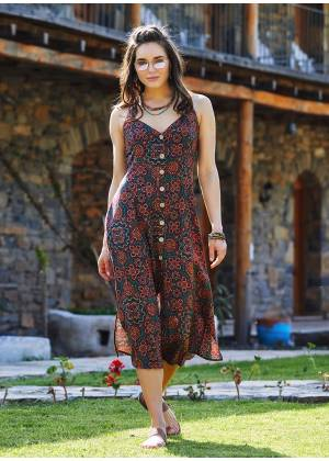 Retro Patterned Halter Neck Vintage Summer Dress