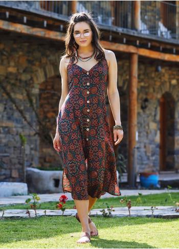 Retro Patterned Halter Neck Vintage Summer Dress