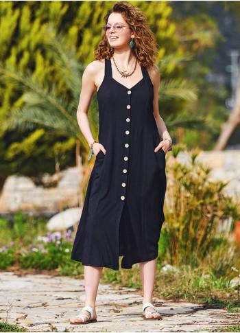 Halter Neck Vintage Black Summer Dress