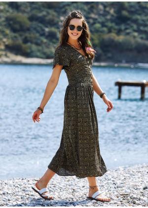Etnic Patterned Bohemian Shirtwaist Maxi Dress