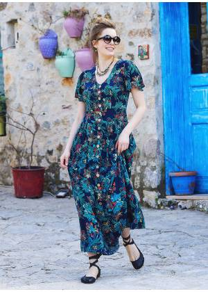Floral Printed Bohemian Shirtwaist Maxi Dress