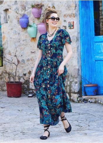 Floral Printed Bohemian Shirtwaist Maxi Dress