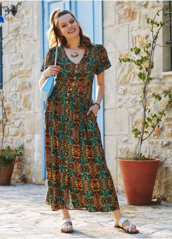 Authentic Patterned Bohemian Shirtwaist Maxi Dress