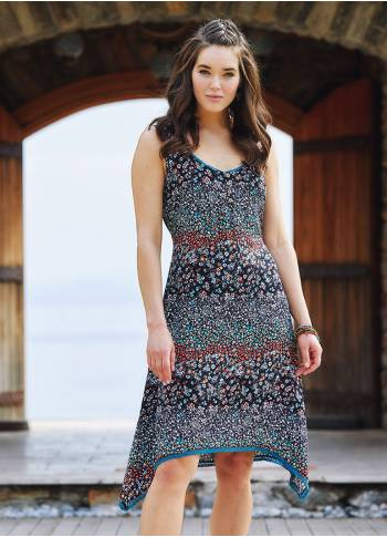 Floral Printed Asymmetrical Hem Cute Summer Dress