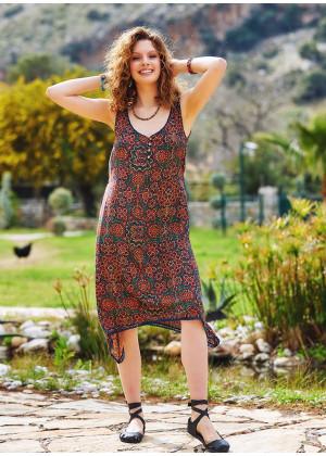 Etnic Patterned Asymmetrical Hem Cute Summer Dress