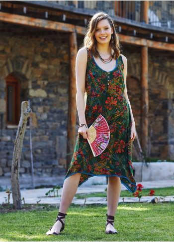 Green Asymmetrical Hem Cute Summer Dress