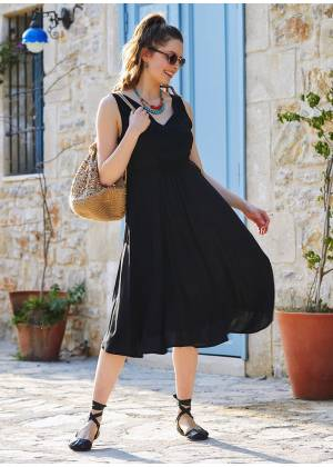 Black Boho Chic Summer Day Dress