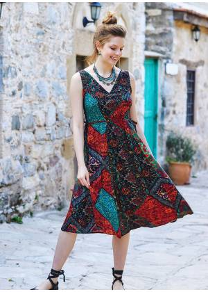 Etnic Patterned Boho Chic Summer Day Dress