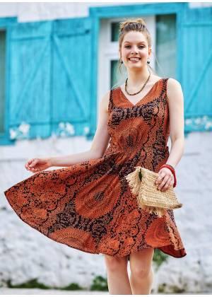 Authentic Patterned Boho Chic Summer Day Dress