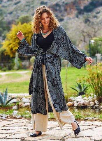 Gray Patterned Kimono