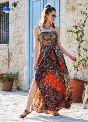 Brown Patterned Strappy Wrap Maxi Dress